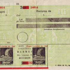 1934 CEC postal cu supratipar pentru Loteria de Stat / Colectura Hermes, bilet loterie perioada interbelica, necompletat - Bilet Loterie Numismatica, An: 1930