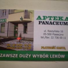 CARD NEBANCAR - APTEKA PANACEUM - POLONIA CU CALENDAR PE VERSO 2013 . - Card Bancar