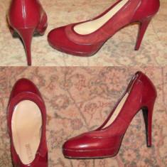 Pantofi platforma, piele intoarsa si piele lacuita, Colin Stuart, mas 37-38 - Pantof dama, Culoare: Visiniu