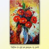 Tablouri dormitor, hol - Vaza cu flori (2) - tablou ulei in cutit - 60x40cm LIVRARE GRATUITA 24-48h