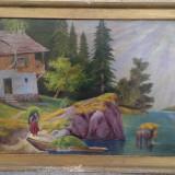 Tablou - Pictura veche ulei pe panza mare - 112cm x 72cm