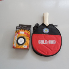 SET COMPUS DIN PALETA TENIS MASA GOLD CUP+ 6 MINGI DONIC WORLD CHAMPIONS - Paleta ping pong Joola