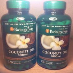 Supliment nutritiv - COCONUT OIL, ulei nuca de cocos, 1000 mg, 120 caps, cel mai bun pret in Romania!