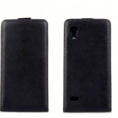 Husa LG Optimus L9 P760 P765 Flip Case Slim Inchidere Magnetica Black, Negru, Piele Ecologica, Toc, Cu clapeta