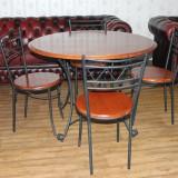 PRET REDUS 20%.---Masa cu 4 scaune. Fier forjat si lemn masiv.