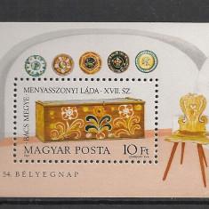 Timbre straine - Ungaria.1981 Ziua marcii postale:Lada de zestre-Bl. SU.277