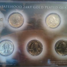 Monede Straine, America de Nord - S.U.A. / America - Set 5 sferturi de dolar din aur 24K, U.S. Statehood 24KT Gold Plated Quarters, 100 euro + taxele postale, detalii pe forum