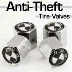 Capace Roti - Set 4 capacele ventil roti BMW alb-negre antifurt