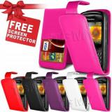 husa piele roz flip Blackberry 8520 curve _ folie protectie ecran + expediere gratuita