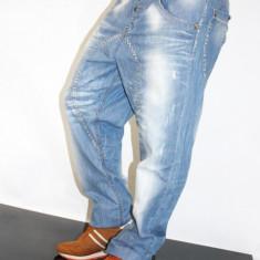 Blugi cu tur lasat Fashion - Blugi barbati, Marime: 28, 29, 30, Culoare: Albastru, Lungi, Largi