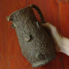Carafa din sticla - imbracata in imitatie scoarta de copac - vintage - anii 80 !! - Arta din Sticla