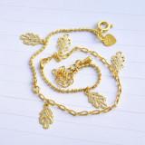 Bratara cu pandantive frunze, inimioara aur filat galben - gold filled 1/20 aur 14k mana glezna noua 28cm--COMANDA MINIM 40lei