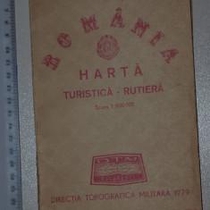 HARTA ROMANIA / RSR - HARTA TURISTICA SI RUTIERA - EDITURA TOPOGRAFICA MILITARA 1979