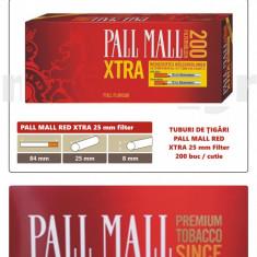 Foite tigari - 1.000 tuburi de tigari Pall Mall Rosu XTra filtru 25 mm pentru injectat tutun