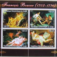 R.D. CONGO 2004 - PICTURA NUDURI BOUCER 4 VALORI IN M/SH, NEOBLITERATA - PP 323, Arta