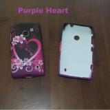 Livrare gratuita! Husa termorezistenta silicon-gel TPU Purple Heart pentru Nokia Lumia 520, calitate (flori, fluturi)