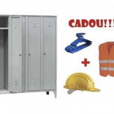 VESTIAR METALIC COMPACT CU PICIOARE SI 4 USI, 116/04 + CADOU!!! (5 buc Umeras vestiar + VESTA SEMNALIZARE + CASCA PROTECTIE)