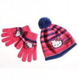Set caciula si manusi - Hello Kitty - roz-albastru - Caciula Copii