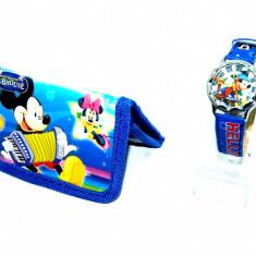 Ceas Copii Disney - Set ceas de mana si portofel Mickey Mouse