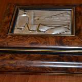 Caseta argint 925 si lemn cires lacuit / Caseta argint, Ornamentale