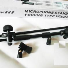 Stativ Microfon suport doua microfoane Pachetul contine si doi suporti pentru microfoane