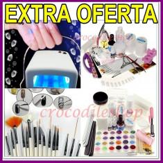 KIT MANICHIURA SET Unghii false BeautyUkCosmetics GEL UV LAMPA UV, PENSULE PICTURA+CADOU