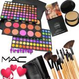 Trusa machiaj farduri fard blush 183 culori nuante MAC + 15 pensule make up Bobbi Brown + Pudra Studio Fix MAC dubla - Trusa make up