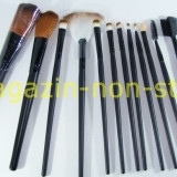 Trusa Set Profesional 12 Pensule Machiaj Fard Pudra Rimel Sprancene Pensula