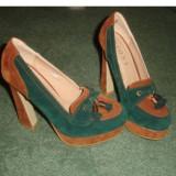 Pantofi dama, Marime: 37, Verde - Pantofi Loafer 37 - deosebiti