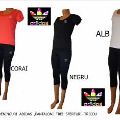 Trening dama Adidas, Poliester - TRENINGURI DAMA PANTALONI TREI SFERTURI+TRICOU, LIVRARE GRATUITA