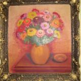 Tablou pictura in ulei pe panza vaza cu flori Maria Chilian - Pictor roman