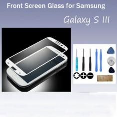 Geam carcasa, Samsung Galaxy S3 - Samsung Galaxy S3 - Geam Gorilla Glass Alb Sigilat cu Banda Adeziva