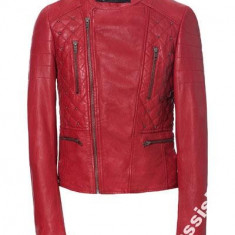 Geaca Zara nou/PIELE NATURALA, model deosebit - Geaca dama Zara, Marime: L, Culoare: Rosu