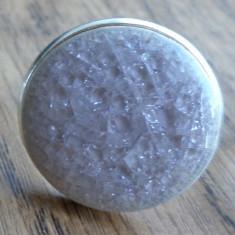 Inel baza argintie cu cabochon ceramica vitrificata rose