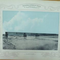 Plansa Calea ferata Bacau - Piatra Pod de lemn peste Bistrita 1903