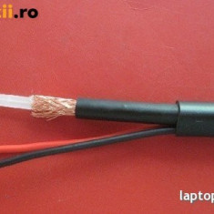 Cablu coaxial CCTV cu alimentare inclusa tip SYV 75-3 Coaxial Cable, pentru sisteme video de supraveghere, camere video, cablu video, rola 100 m