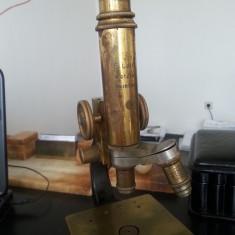 Microscop vechi de colectie Leitz Wetzlar Nr 161053 cu 2 obiective. Reducere