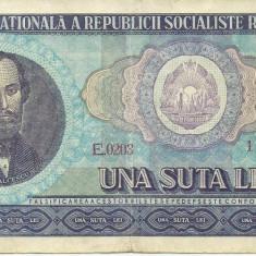 Bancnote Romanesti - ROMANIA- 100 LEI 1966- seria E0203- 128210