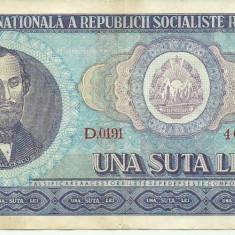 Bancnote Romanesti - ROMANIA- 100 LEI 1966- seria D0191- 402732