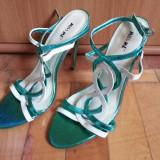 Sandale dama, Marime: 38, Piele sintetica, Turcoaz - Vand sandale de dama