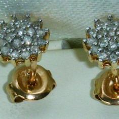 Set bijuterii aur - Set bijuterii din aur cu diamante- cercei si pandantiv
