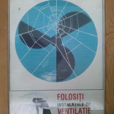 Afis vechi din perioada comunista - cu tematica PROTECTIA MUNCII - dimensiuni fara rama :68cm x 46cm