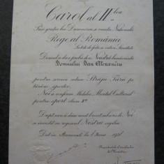 Brevet Medalia Meritul Cultural pt Sport / Straja Tarii cls a 2-a, 1938, cu semnatura originala a lui Carol 2 . Rar !!