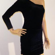 Rochie mini neagra, Rochie negra asimetrica Rochie negra din catifea - Rochie banchet, Culoare: Negru, Marime: 34, 36, 38, 40, 42