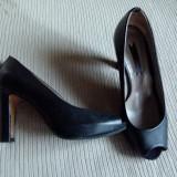 Pantofi dama Progetto, Marime: 36.5, Negru - Pantofi PEEP TOE 36 PROGETTO piele negri