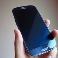 Samsung S3 Blue, full box, casti, cablu de date incarcator originale, neverlocked, aspect 9/10 - Telefon mobil Samsung Galaxy S3, Albastru, 16GB, Neblocat, Quad core, 1 GB