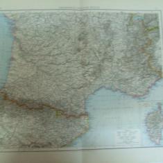 Harta color Franta jumatatea sudica Leipzig 1899 - Harta Frantei