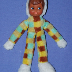 Papusa de colectie - Papusa, fata din cauciuc corp din material textil, creola (negresa), anii '80