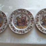 Superb set format din 3 farfuri frumos pictate reprezentând producția de vin