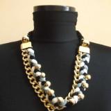 Colier auriu impletit cu material textil / tricolor